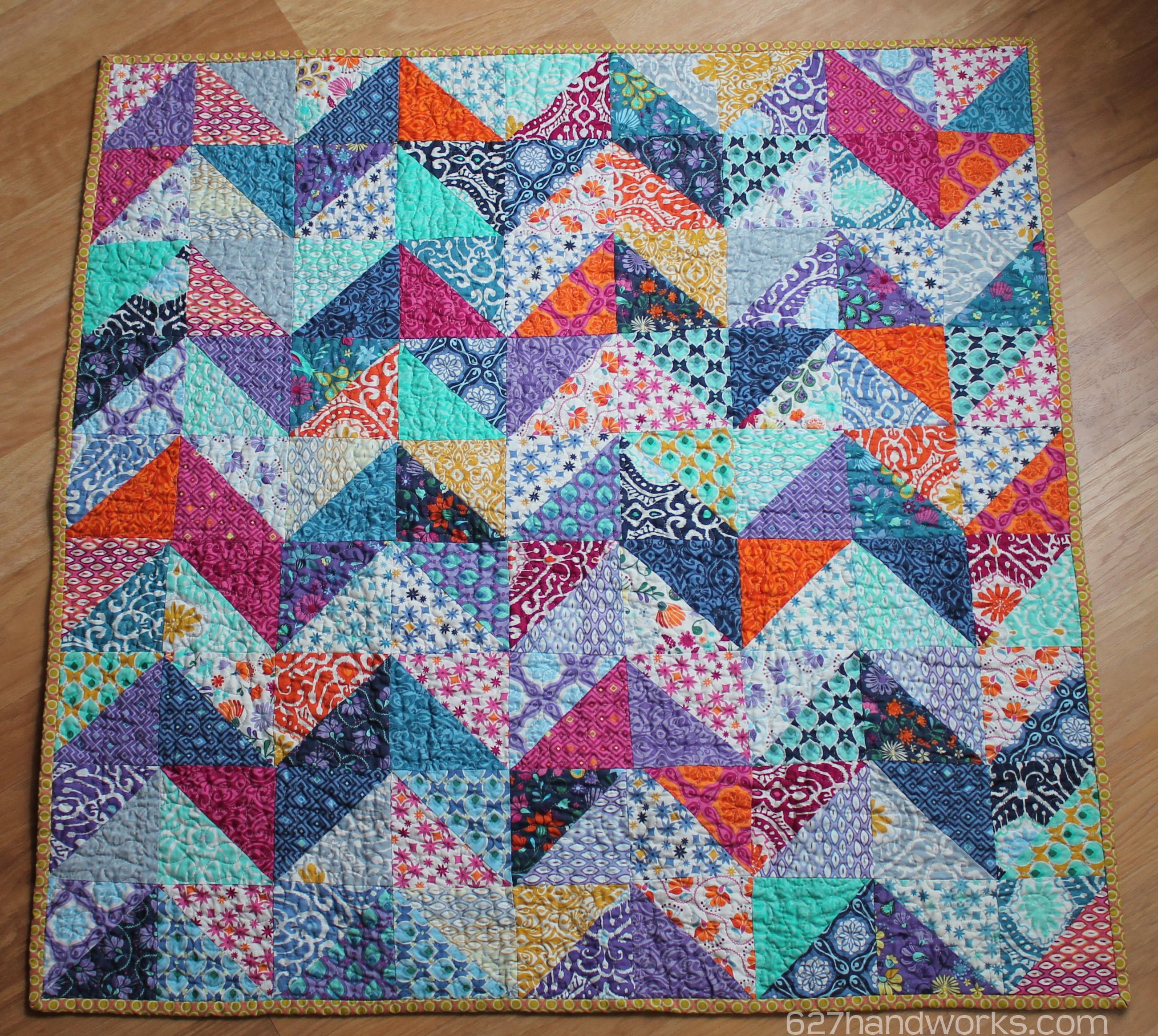 Patchwork Zigzag Baby Quilt 627handworks